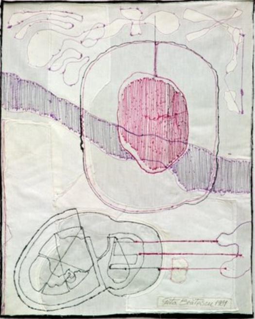 Geta Brātescu Medeic Callisthetic Moves IV 1980 1981 sewing on textile
