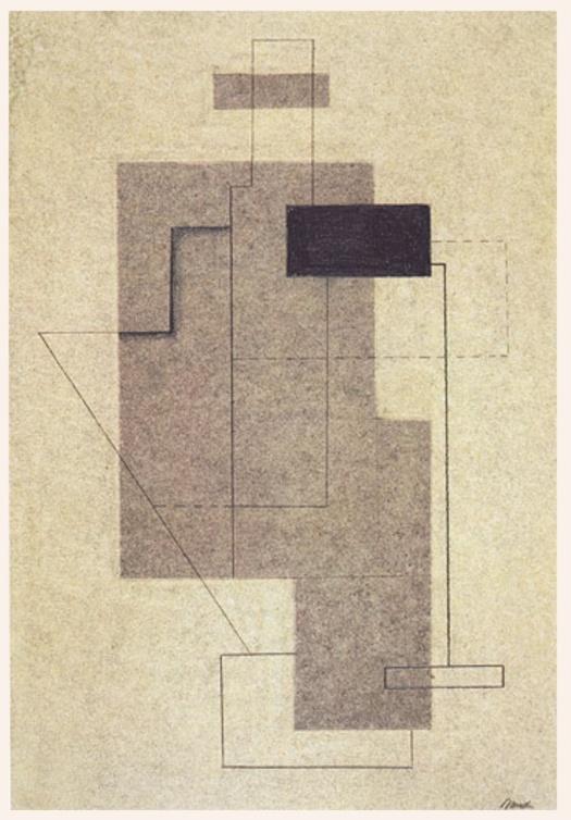 Figura seduta astratta 1926 carboncino e matita su cartone W. Baumeister